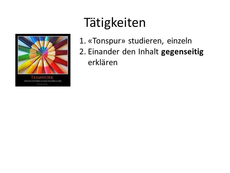 Tätigkeiten 1.«Tonspur» studieren, einzeln 2.Einander den Inhalt gegenseitig erklären 3.Unverstandenes so lange nachfragen, bis man es versteht