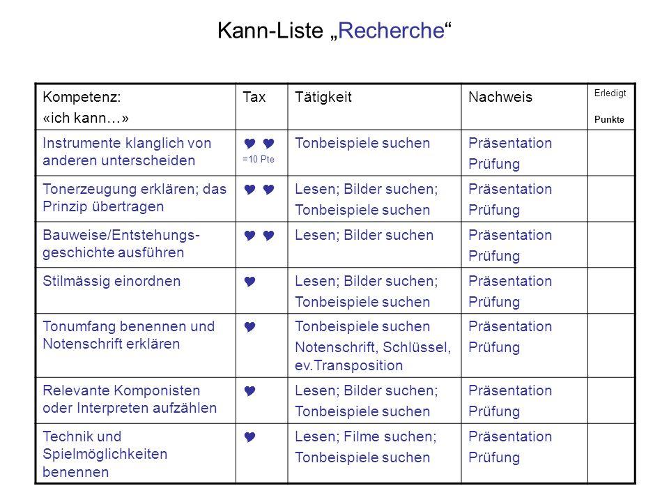 Kann-Liste Recherche Kompetenz: «ich kann…» TaxTätigkeitNachweis Erledigt Punkte Instrumente klanglich von anderen unterscheiden =10 Pte Tonbeispiele