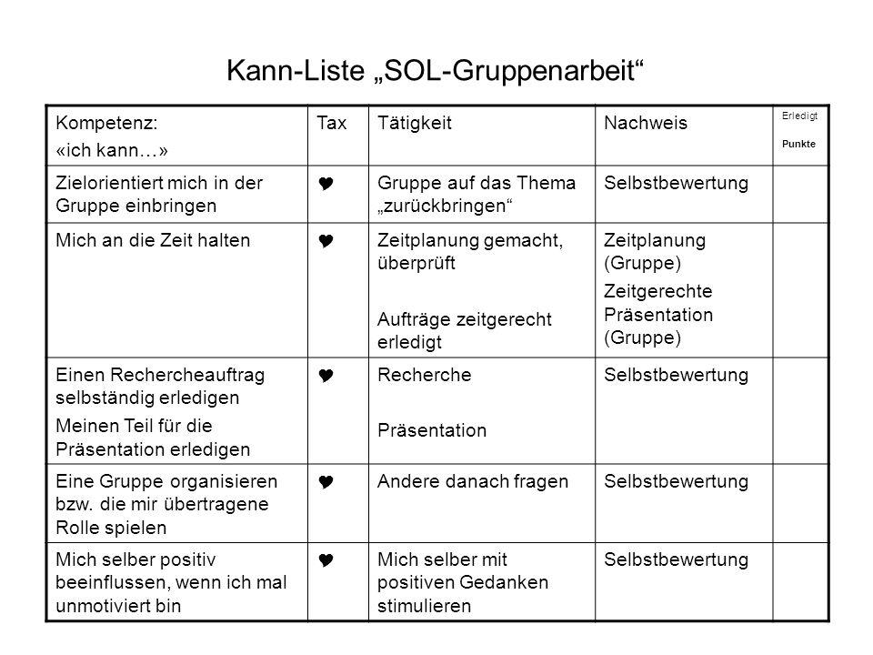 Kann-Liste SOL-Gruppenarbeit Kompetenz: «ich kann…» TaxTätigkeitNachweis Erledigt Punkte Zielorientiert mich in der Gruppe einbringen Gruppe auf das T