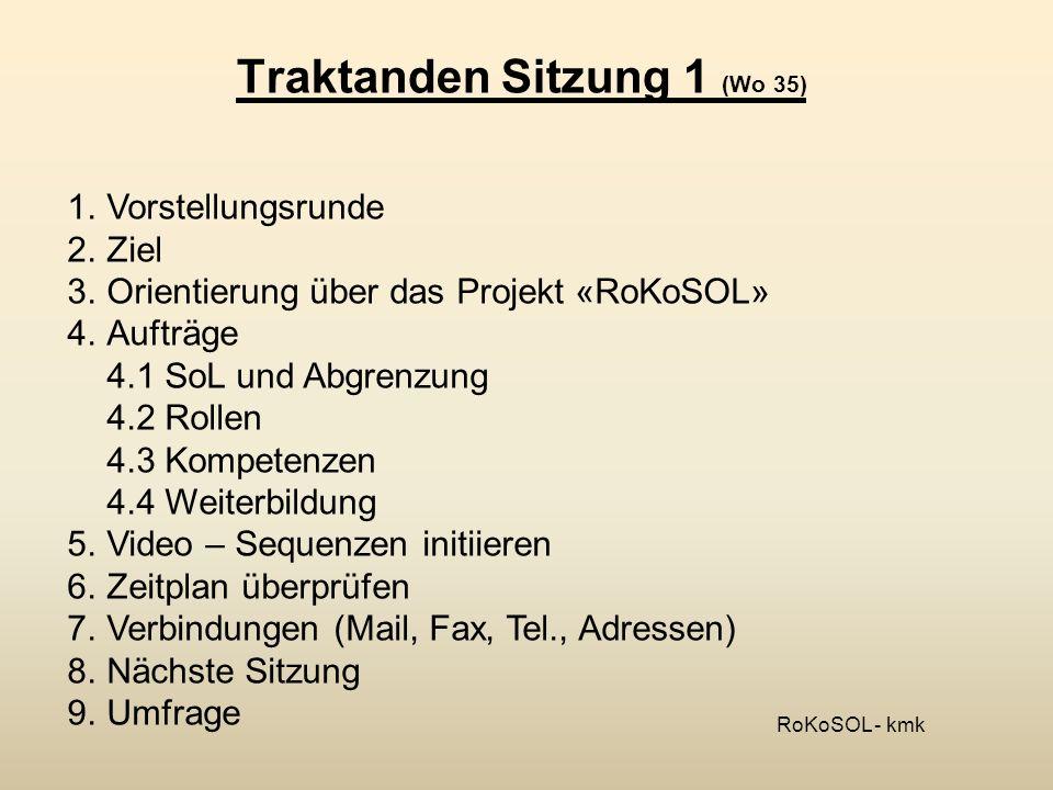 Traktanden Sitzung 2 (Wo 43) 1.Ziel 2.Stand Projekt «RoKoSOL» (KMK) 3.Stand Gruppe «Skript» (Cornelia Macchabiani) 4.Stand Gruppe «Weiterbildung» (Peter Vogel) 5.Diskussion über Elemente aus den Gruppen (Alle) 6.Weiteres Vorgehen 7.Zeitplan überprüfen 8.Nächste Sitzung 9.Umfrage RoKoSOL - kmk