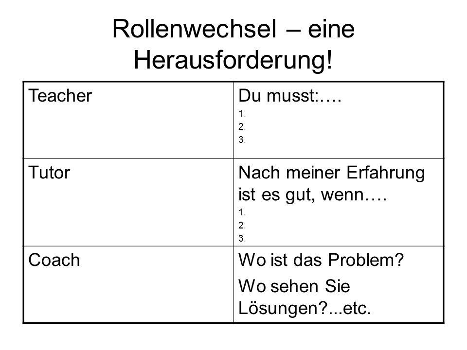 Rollenwechsel – eine Herausforderung! TeacherDu musst:…. 1. 2. 3. TutorNach meiner Erfahrung ist es gut, wenn…. 1. 2. 3. CoachWo ist das Problem? Wo s