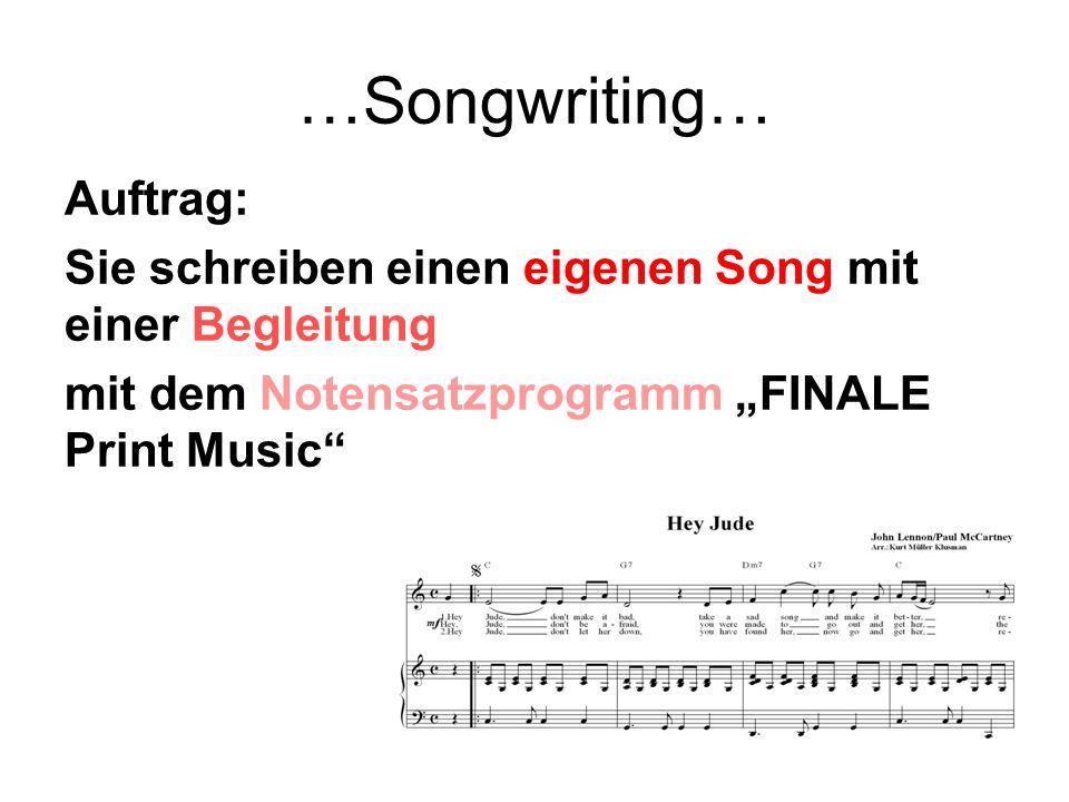 Was Sie als Ertes tun müssen: 1.Laden Sie die drei Ordner Songwriting, Finale und Analyse auf einen Stick.
