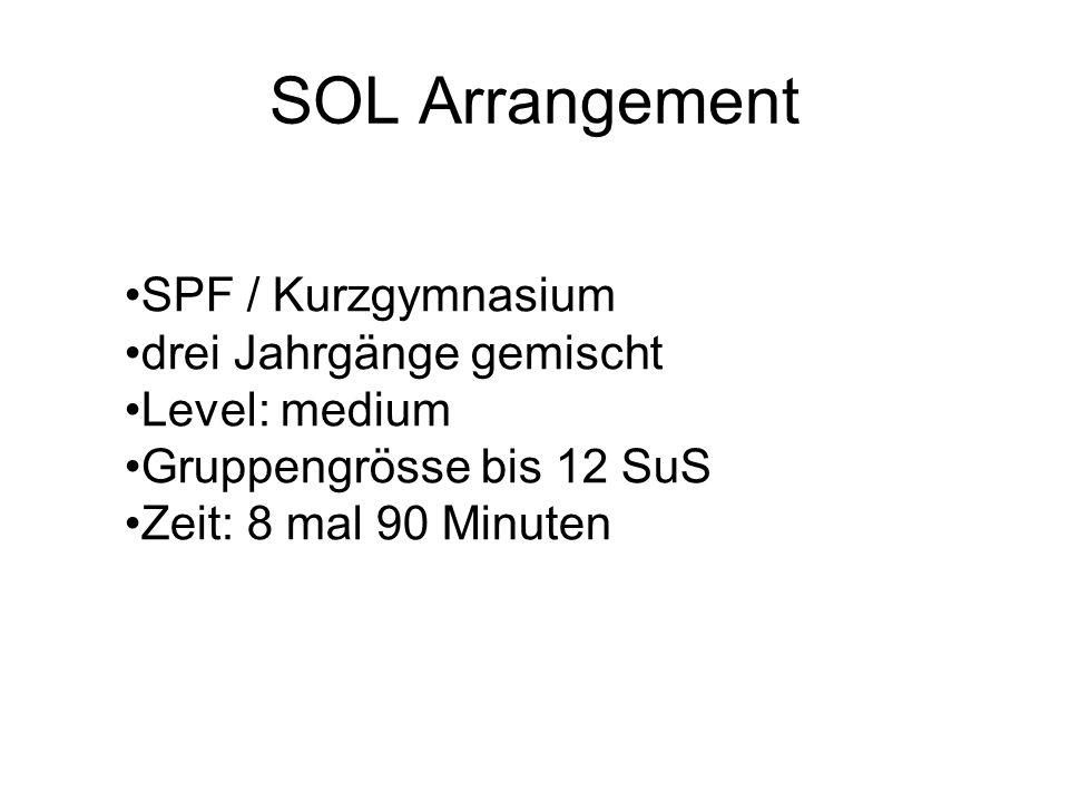 SOL Arrangement SPF / Kurzgymnasium drei Jahrgänge gemischt Level: medium Gruppengrösse bis 12 SuS Zeit: 8 mal 90 Minuten