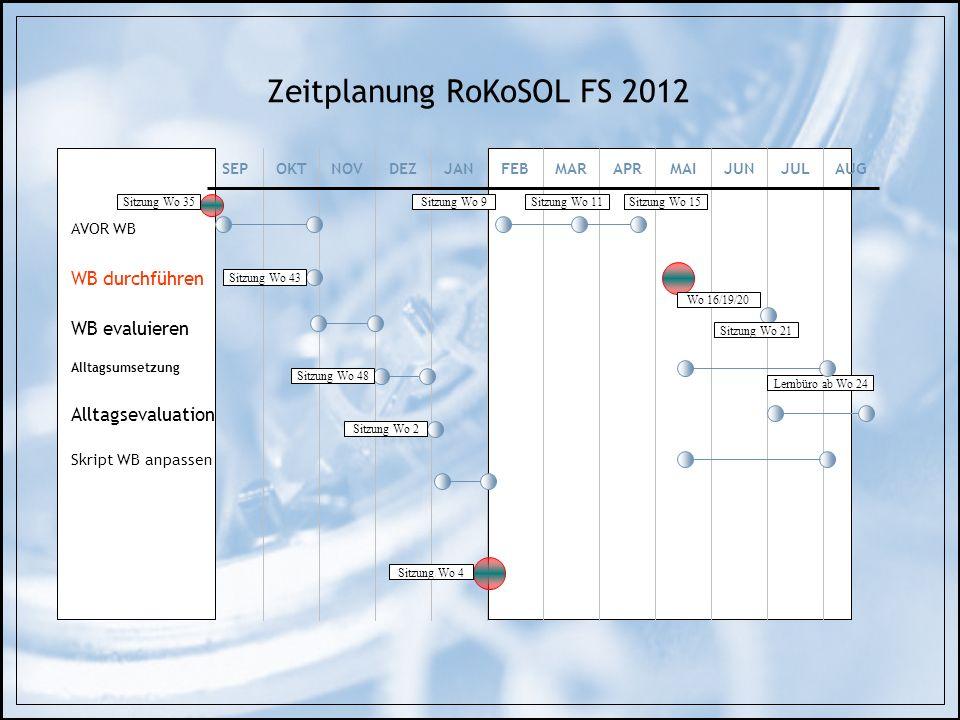 Zeitplanung RoKoSOL FS 2012 AVOR WB WB durchführen WB evaluieren Alltagsumsetzung Alltagsevaluation Skript WB anpassen SEPOKTNOVDEZJANFEBMARAPRMAIJUNJ
