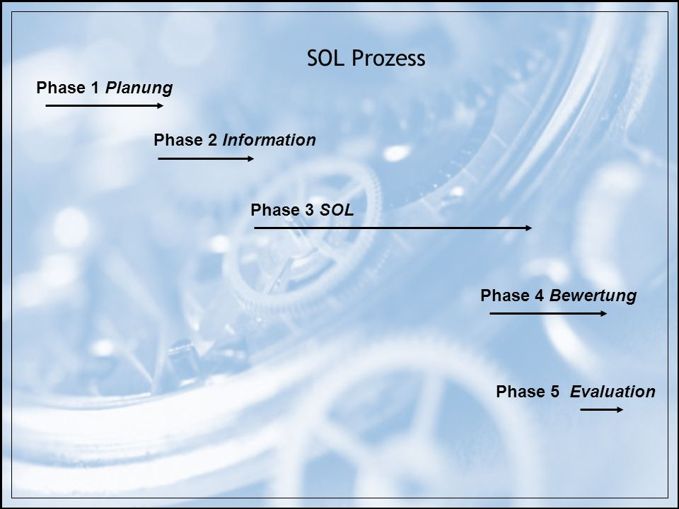 SOL Prozess Phase 1 Planung Phase 2 Information Phase 3 SOL Phase 4 Bewertung Phase 5 Evaluation