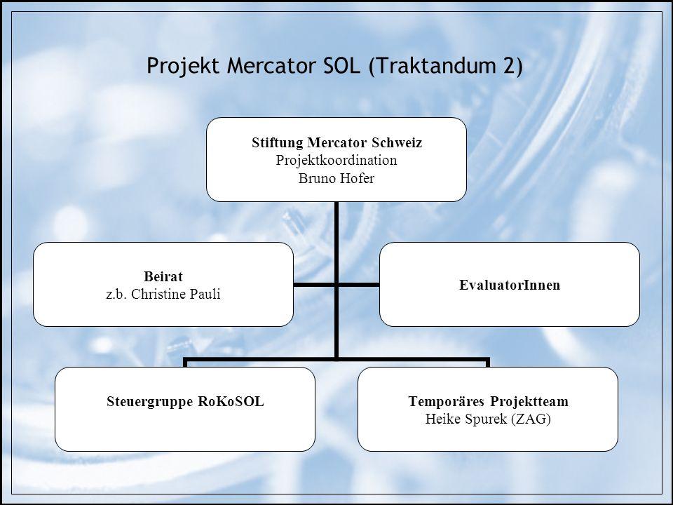 Projekt Mercator SOL (Traktandum 2) Stiftung Mercator Schweiz Projektkoordination Bruno Hofer Steuergruppe RoKoSOL Temporäres Projektteam Heike Spurek