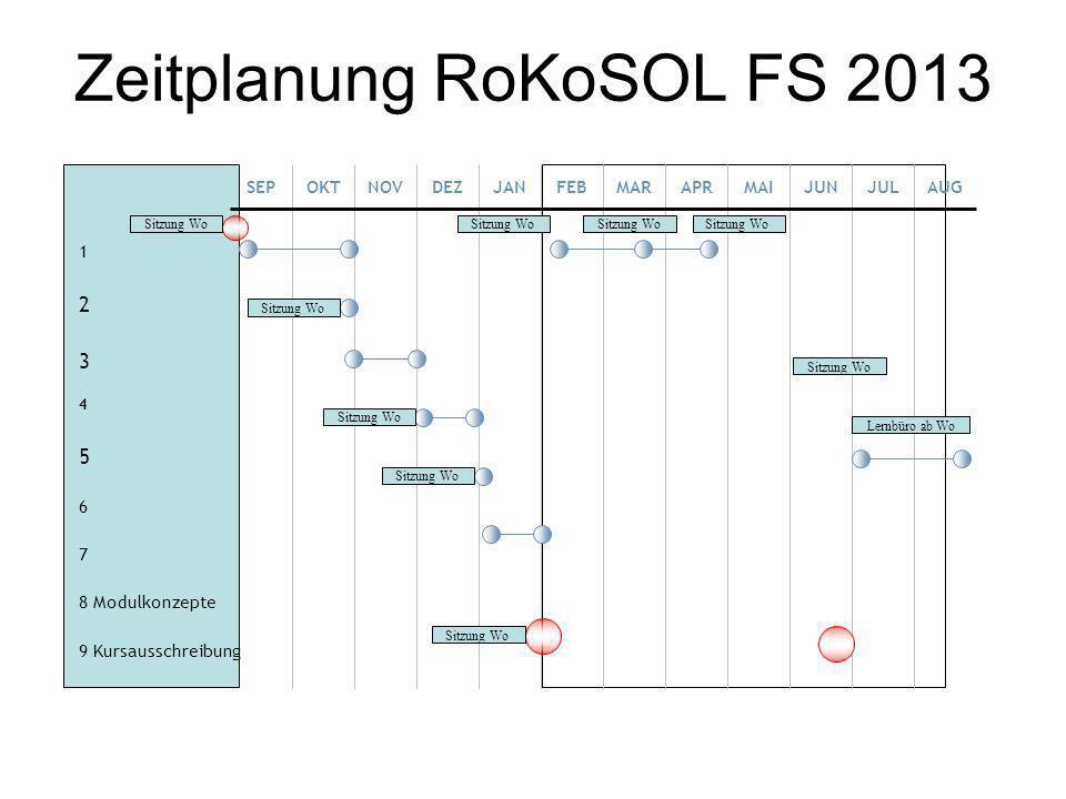Zeitplanung RoKoSOL FS 2013 1 2 3 4 5 6 7 8 Modulkonzepte 9 Kursausschreibung SEPOKTNOVDEZJANFEBMARAPRMAIJUNJULAUG Sitzung Wo Lernbüro ab Wo Sitzung W