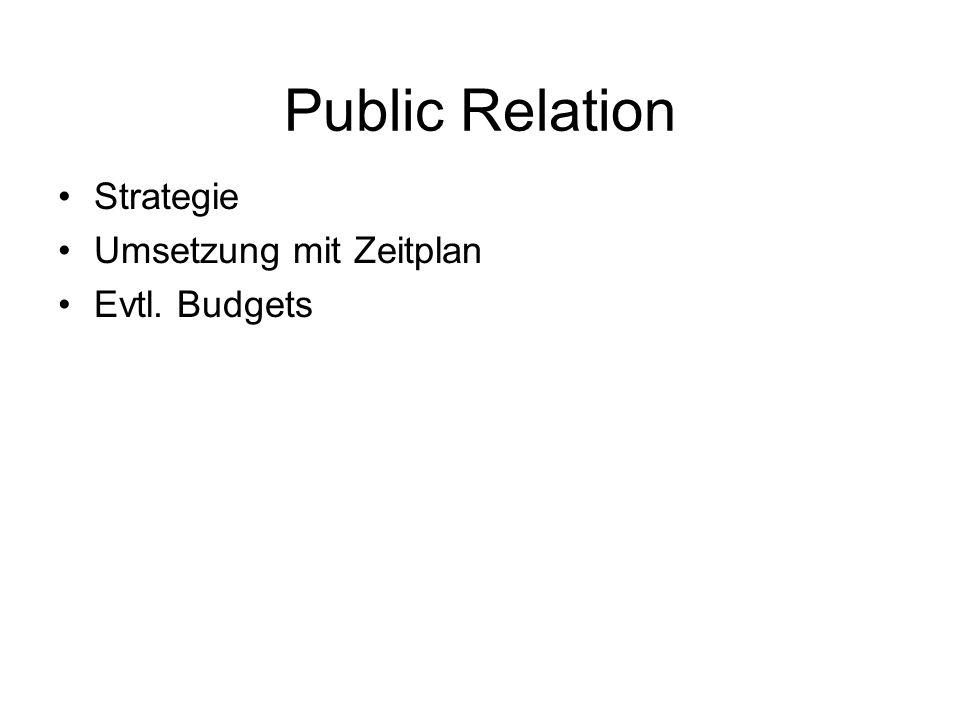 Public Relation Strategie Umsetzung mit Zeitplan Evtl. Budgets