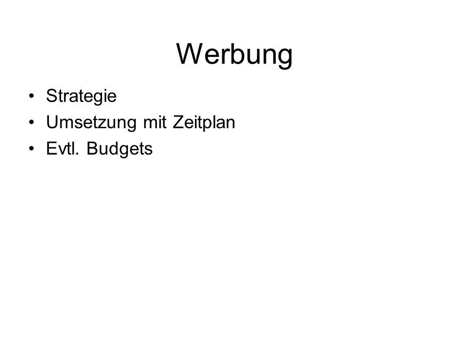 Werbung Strategie Umsetzung mit Zeitplan Evtl. Budgets