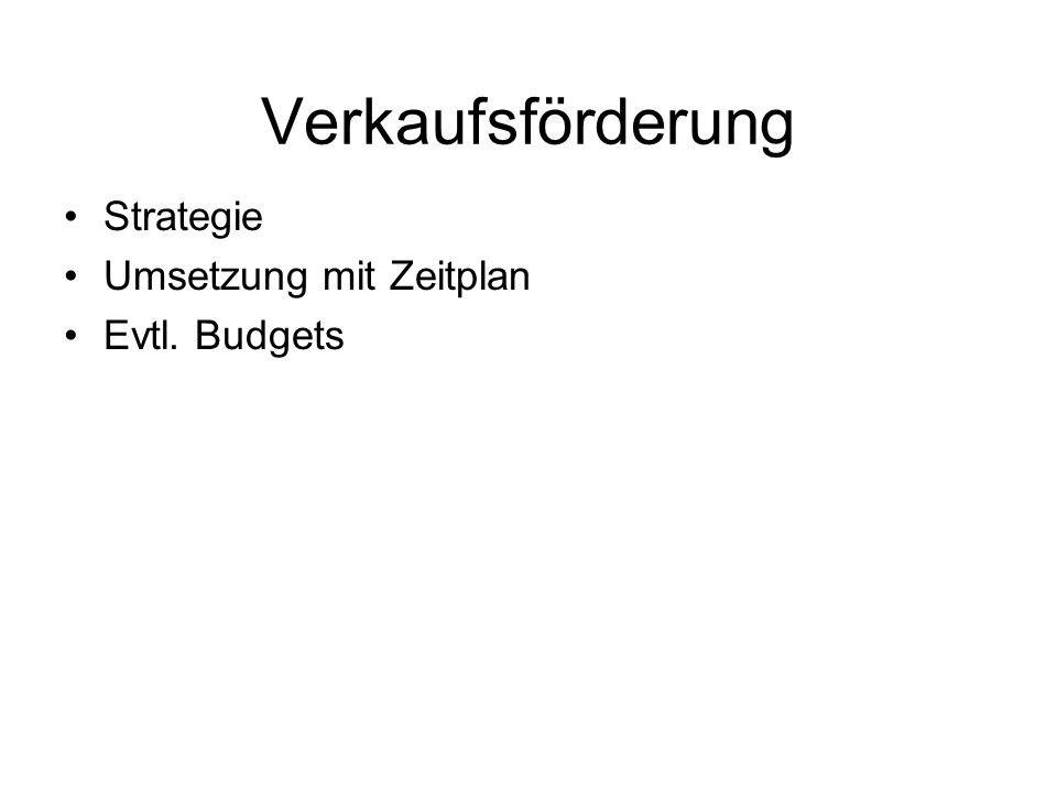 Verkaufsförderung Strategie Umsetzung mit Zeitplan Evtl. Budgets