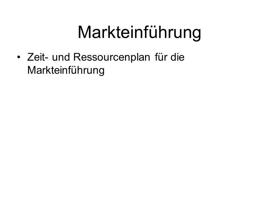Markteinführung Zeit- und Ressourcenplan für die Markteinführung