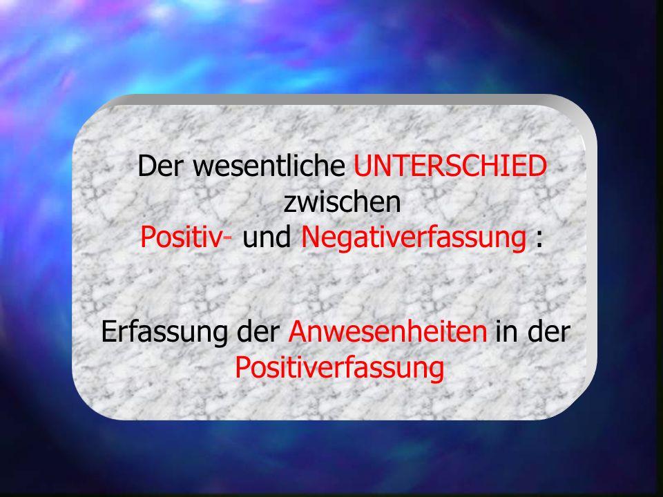Der wesentliche UNTERSCHIED zwischen Positiv- und Negativerfassung : Erfassung der Anwesenheiten in der Positiverfassung
