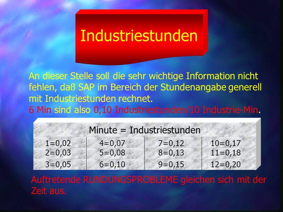 Industriestunden An dieser Stelle soll die sehr wichtige Information nicht fehlen, daß SAP im Bereich der Stundenangabe generell mit Industriestunden rechnet.