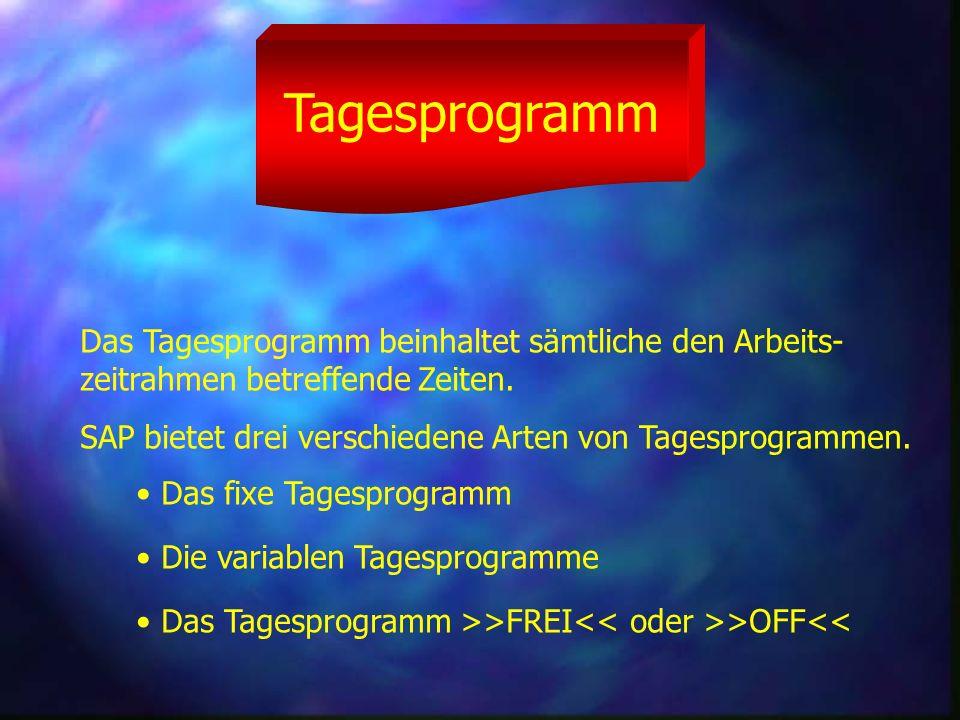 Tagesprogramm Das Tagesprogramm beinhaltet sämtliche den Arbeits- zeitrahmen betreffende Zeiten.
