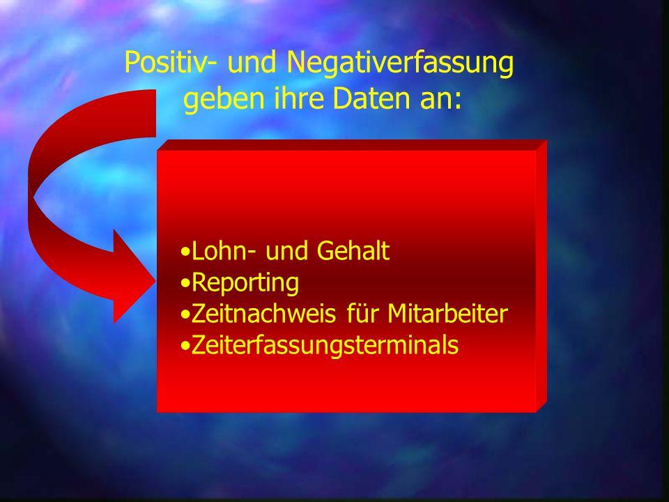 Positiv- und Negativerfassung geben ihre Daten an: Lohn- und Gehalt Reporting Zeitnachweis für Mitarbeiter Zeiterfassungsterminals
