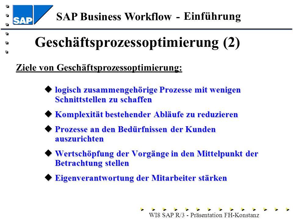SAP Business Workflow - WI8 SAP R/3 - Präsentation FH-Konstanz Geschäftsprozessoptimierung (2) logisch zusammengehörige Prozesse mit wenigen Schnittstellen zu schaffen logisch zusammengehörige Prozesse mit wenigen Schnittstellen zu schaffen Komplexität bestehender Abläufe zu reduzieren Komplexität bestehender Abläufe zu reduzieren Prozesse an den Bedürfnissen der Kunden auszurichten Prozesse an den Bedürfnissen der Kunden auszurichten Wertschöpfung der Vorgänge in den Mittelpunkt der Betrachtung stellen Wertschöpfung der Vorgänge in den Mittelpunkt der Betrachtung stellen Eigenverantwortung der Mitarbeiter stärken Eigenverantwortung der Mitarbeiter stärken Einführung Ziele von Geschäftsprozessoptimierung: