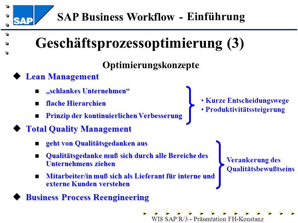 SAP Business Workflow - WI8 SAP R/3 - Präsentation FH-Konstanz Geschäftsprozessoptimierung (3) Lean Management Lean Management schlankes Unternehmen schlankes Unternehmen flache Hierarchien flache Hierarchien Prinzip der kontinuierlichen Verbesserung Prinzip der kontinuierlichen Verbesserung Total Quality Management Total Quality Management geht von Qualitätsgedanken aus geht von Qualitätsgedanken aus Qualitätsgedanke muß sich durch alle Bereiche des Unternehmens ziehen Qualitätsgedanke muß sich durch alle Bereiche des Unternehmens ziehen Mitarbeiter/in muß sich als Lieferant für interne und externe Kunden verstehen Mitarbeiter/in muß sich als Lieferant für interne und externe Kunden verstehen Business Process Reengineering Business Process Reengineering Einführung Optimierungskonzepte Kurze Entscheidungswege Produktivitätssteigerung Verankerung des Qualitätsbewußtseins