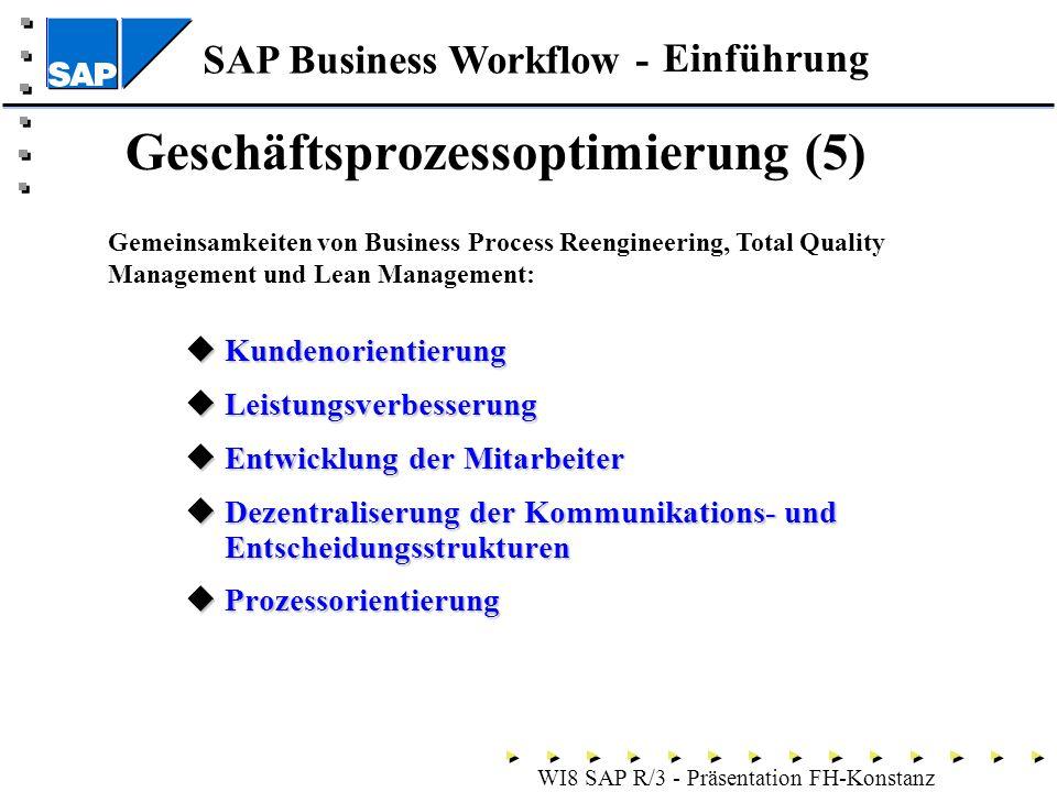 SAP Business Workflow - WI8 SAP R/3 - Präsentation FH-Konstanz Kundenorientierung Kundenorientierung Leistungsverbesserung Leistungsverbesserung Entwicklung der Mitarbeiter Entwicklung der Mitarbeiter Dezentraliserung der Kommunikations- und Entscheidungsstrukturen Dezentraliserung der Kommunikations- und Entscheidungsstrukturen Prozessorientierung Prozessorientierung Einführung Geschäftsprozessoptimierung (5) Gemeinsamkeiten von Business Process Reengineering, Total Quality Management und Lean Management: