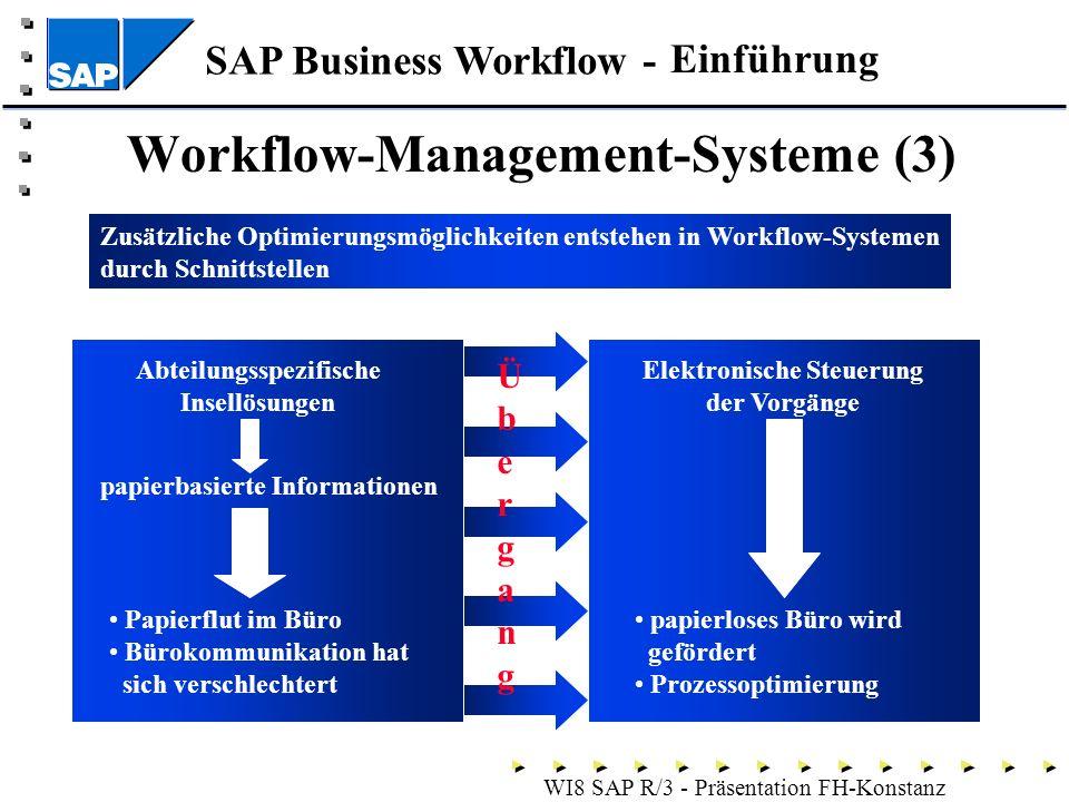 SAP Business Workflow - WI8 SAP R/3 - Präsentation FH-Konstanz Workflow-Management-Systeme (3) Einführung Zusätzliche Optimierungsmöglichkeiten entstehen in Workflow-Systemen durch Schnittstellen Abteilungsspezifische Insellösungen papierbasierte Informationen Papierflut im Büro Bürokommunikation hat sich verschlechtert Elektronische Steuerung der Vorgänge papierloses Büro wird gefördert Prozessoptimierung Übergang Übergang