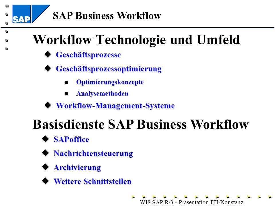 SAP Business Workflow - WI8 SAP R/3 - Präsentation FH-Konstanz Workflow Technologie und Umfeld Geschäftsprozesse Geschäftsprozesse Geschäftsprozessoptimierung Geschäftsprozessoptimierung Optimierungskonzepte Optimierungskonzepte Analysemethoden Analysemethoden Workflow-Management-Systeme Workflow-Management-Systeme Basisdienste SAP Business Workflow SAPoffice SAPoffice Nachrichtensteuerung Nachrichtensteuerung Archivierung Archivierung Weitere Schnittstellen Weitere Schnittstellen