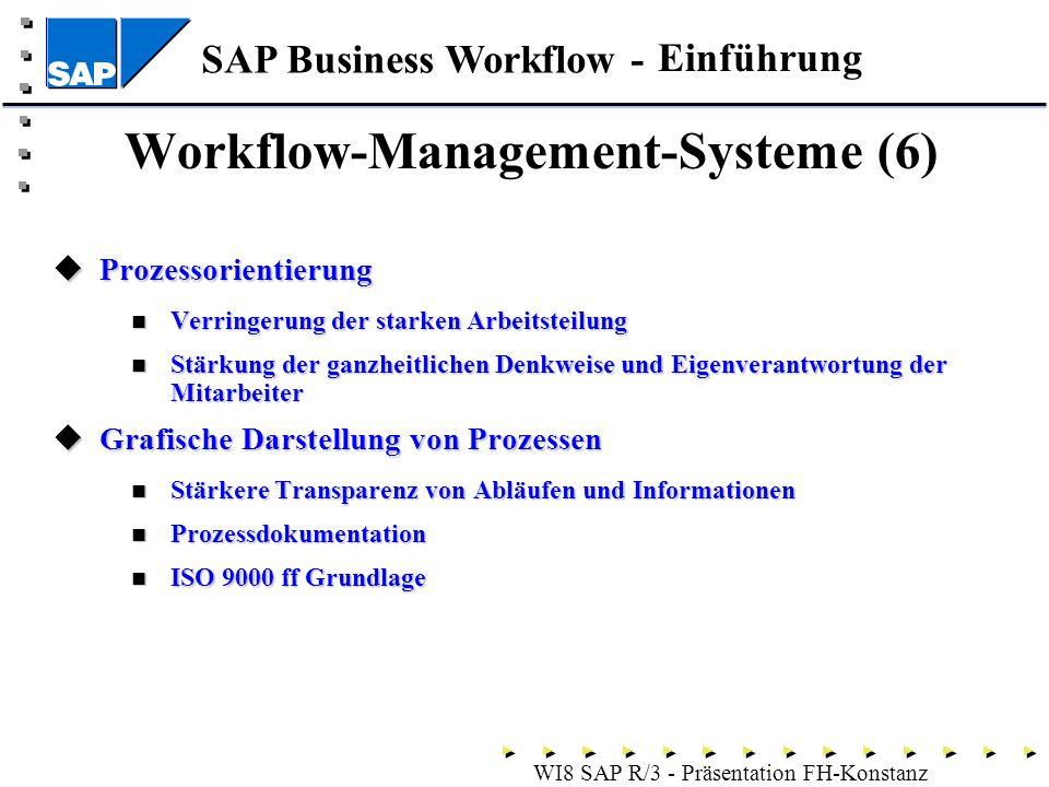 SAP Business Workflow - WI8 SAP R/3 - Präsentation FH-Konstanz Prozessorientierung Prozessorientierung Verringerung der starken Arbeitsteilung Verringerung der starken Arbeitsteilung Stärkung der ganzheitlichen Denkweise und Eigenverantwortung der Mitarbeiter Stärkung der ganzheitlichen Denkweise und Eigenverantwortung der Mitarbeiter Grafische Darstellung von Prozessen Grafische Darstellung von Prozessen Stärkere Transparenz von Abläufen und Informationen Stärkere Transparenz von Abläufen und Informationen Prozessdokumentation Prozessdokumentation ISO 9000 ff Grundlage ISO 9000 ff Grundlage Workflow-Management-Systeme (6) Einführung