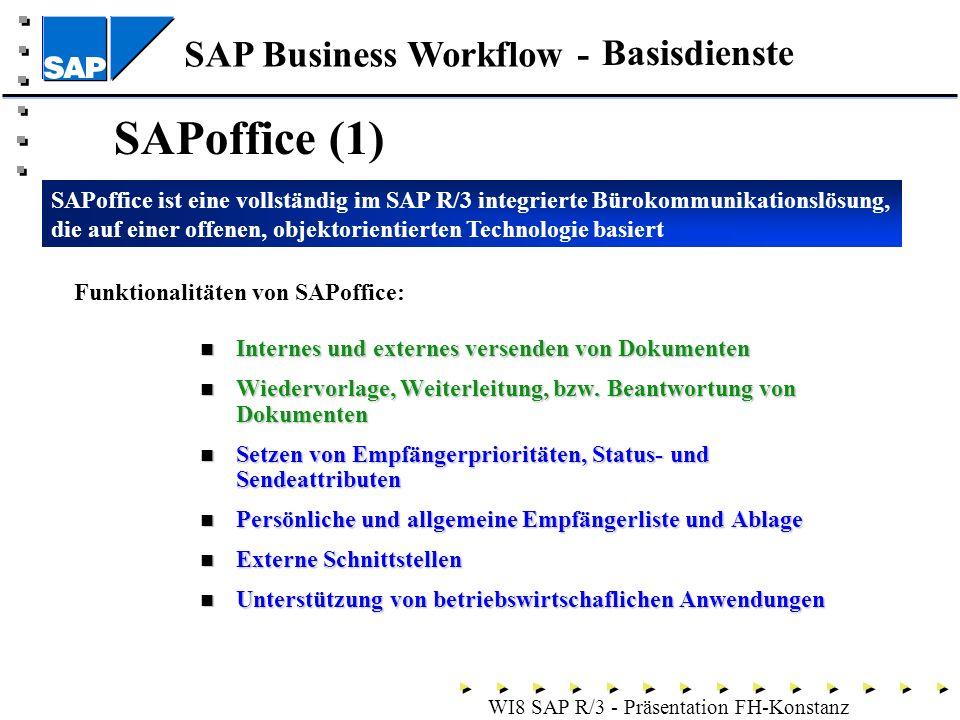 SAP Business Workflow - WI8 SAP R/3 - Präsentation FH-Konstanz SAPoffice (1) Internes und externes versenden von Dokumenten Internes und externes versenden von Dokumenten Wiedervorlage, Weiterleitung, bzw.