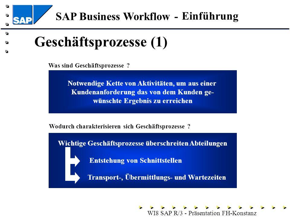 SAP Business Workflow - WI8 SAP R/3 - Präsentation FH-Konstanz Geschäftsprozesse (1) Was sind Geschäftsprozesse .