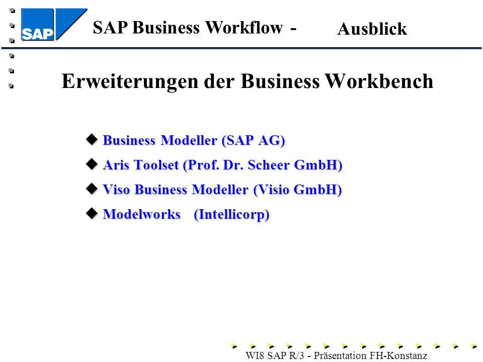 SAP Business Workflow - WI8 SAP R/3 - Präsentation FH-Konstanz Erweiterungen der Business Workbench Business Modeller (SAP AG) Business Modeller (SAP AG) Aris Toolset (Prof.