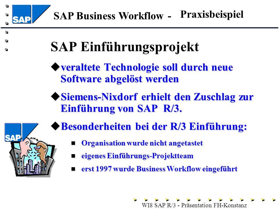 SAP Business Workflow - WI8 SAP R/3 - Präsentation FH-Konstanz SAP Einführungsprojekt veraltete Technologie soll durch neue Software abgelöst werden veraltete Technologie soll durch neue Software abgelöst werden Siemens-Nixdorf erhielt den Zuschlag zur Einführung von SAP R/3.