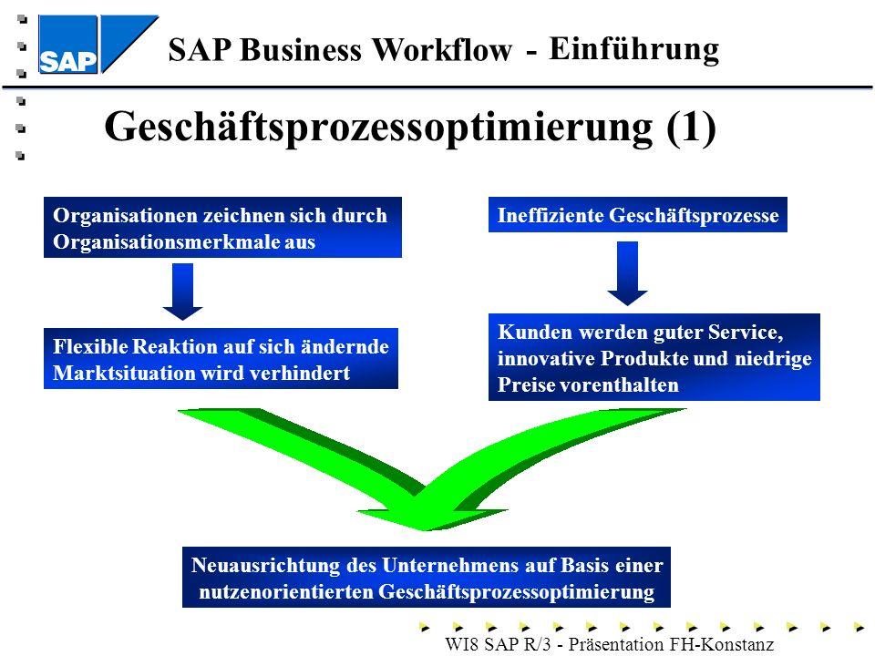SAP Business Workflow - WI8 SAP R/3 - Präsentation FH-Konstanz Geschäftsprozessoptimierung (1) Einführung Organisationen zeichnen sich durch Organisationsmerkmale aus Flexible Reaktion auf sich ändernde Marktsituation wird verhindert Ineffiziente Geschäftsprozesse Kunden werden guter Service, innovative Produkte und niedrige Preise vorenthalten Neuausrichtung des Unternehmens auf Basis einer nutzenorientierten Geschäftsprozessoptimierung