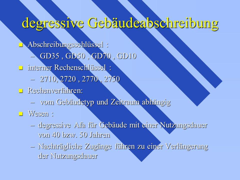 degressive Gebäudeabschreibung n Abschreibungsschlüssel : – GD35, GD50, GD70, GD10 n interner Rechenschlüssel : – 2710, 2720, 2770, 2750 n Rechenverfa