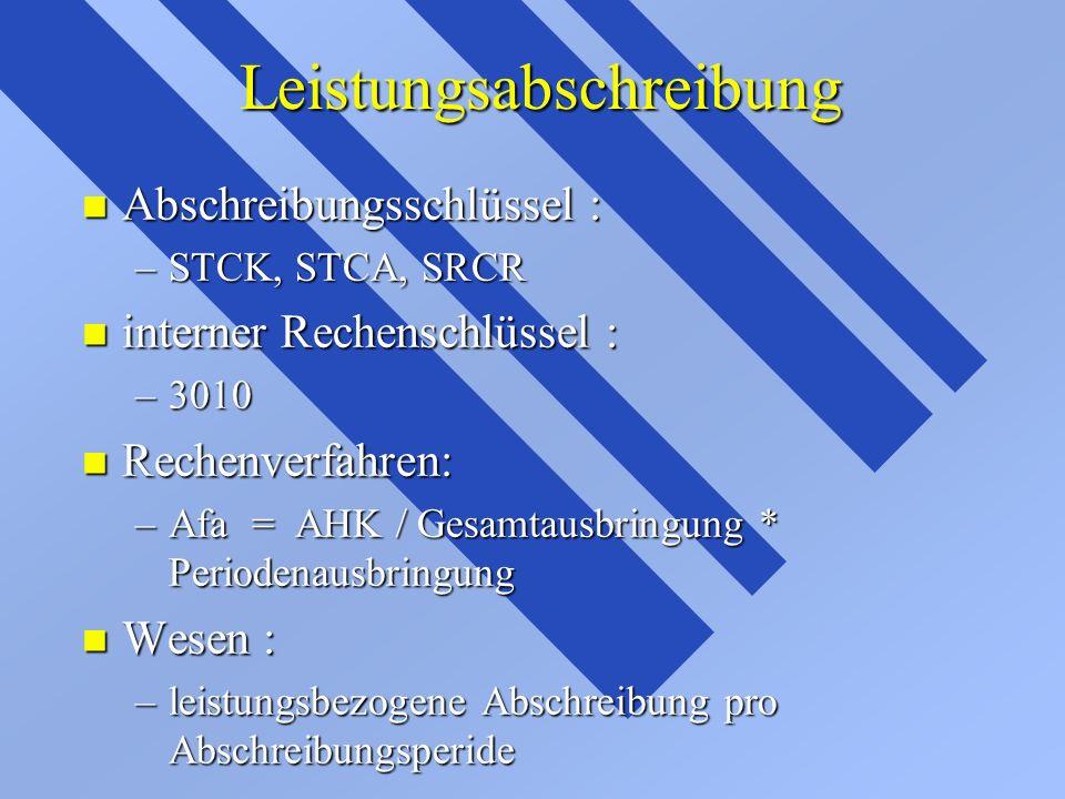 Leistungsabschreibung Leistungsabschreibung n Abschreibungsschlüssel : –STCK, STCA, SRCR n interner Rechenschlüssel : –3010 n Rechenverfahren: –Afa =