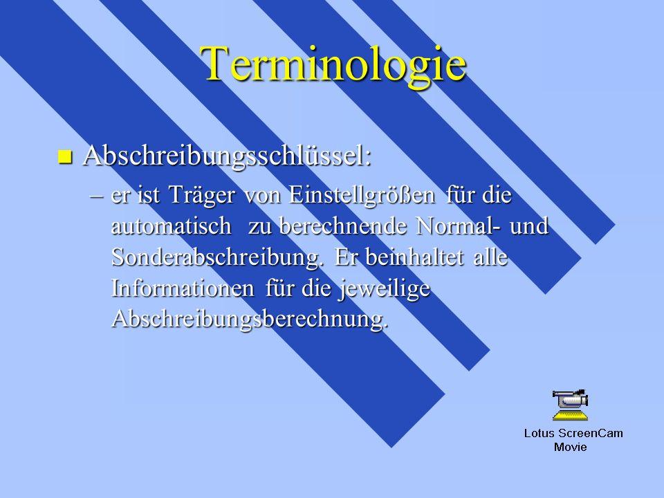 Terminologie n Abschreibungsschlüssel: –er ist Träger von Einstellgrößen für die automatisch zu berechnende Normal- und Sonderabschreibung. Er beinhal