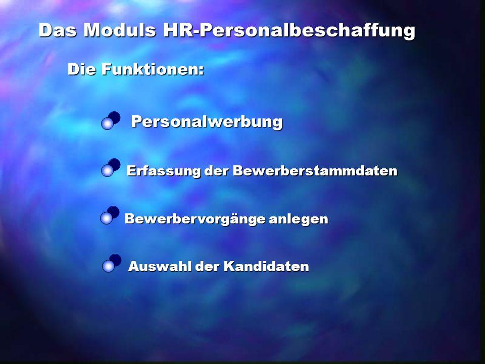 Das Moduls HR-Personalbeschaffung Die Funktionen: Personalwerbung Erfassung der Bewerberstammdaten Auswahl der Kandidaten Bewerbervorgänge anlegen