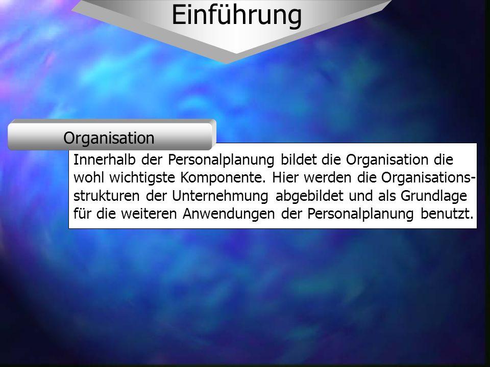 Einführung Innerhalb der Personalplanung bildet die Organisation die wohl wichtigste Komponente.