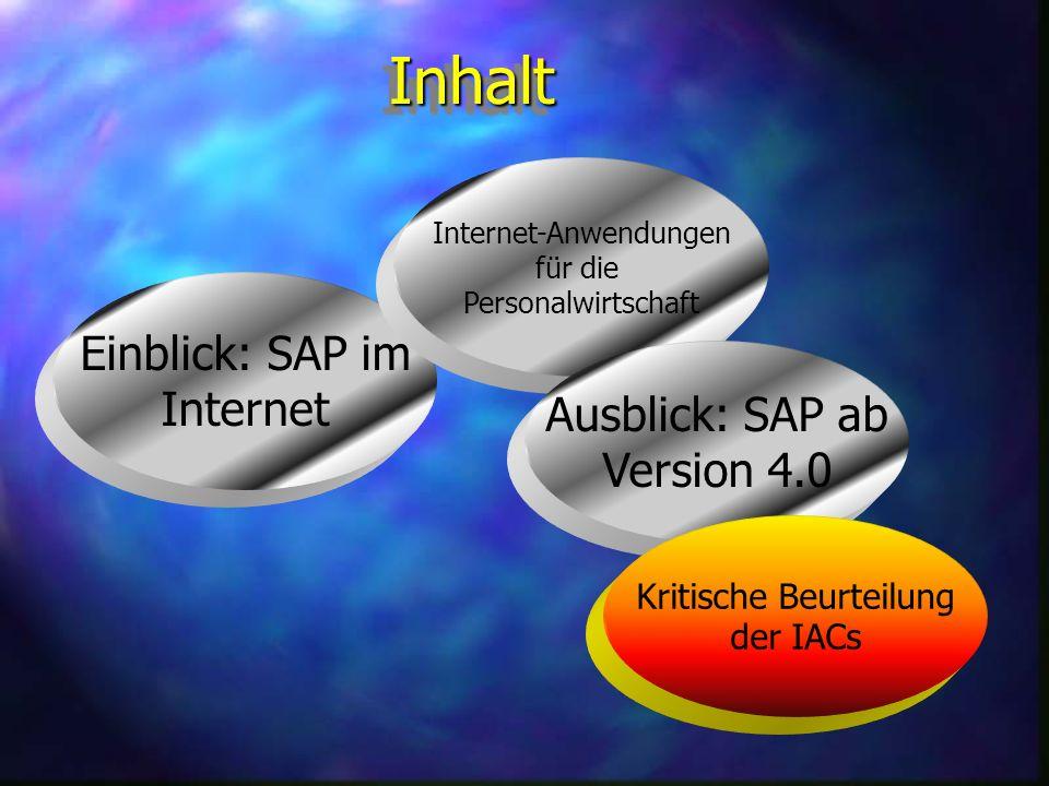 SAP ab Version 4.0 n 35 Internet Anwendungen aus den Bereichen Logistik, Personalverwaltung und Finanzbuchhaltung n Für Personalverwaltung kommen die