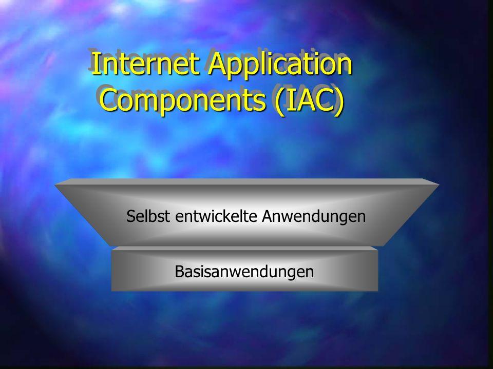 Internet Application Components (IAC) Basisanwendungen Selbst entwickelte Anwendungen