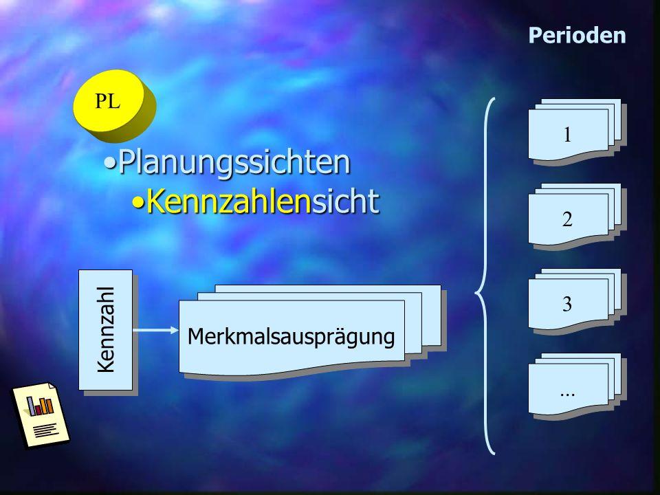 PL PlanungssichtenPlanungssichten KennzahlensichtKennzahlensicht 2 2 1 1 3 3... Perioden Kennzahl Merkmalsausprägung