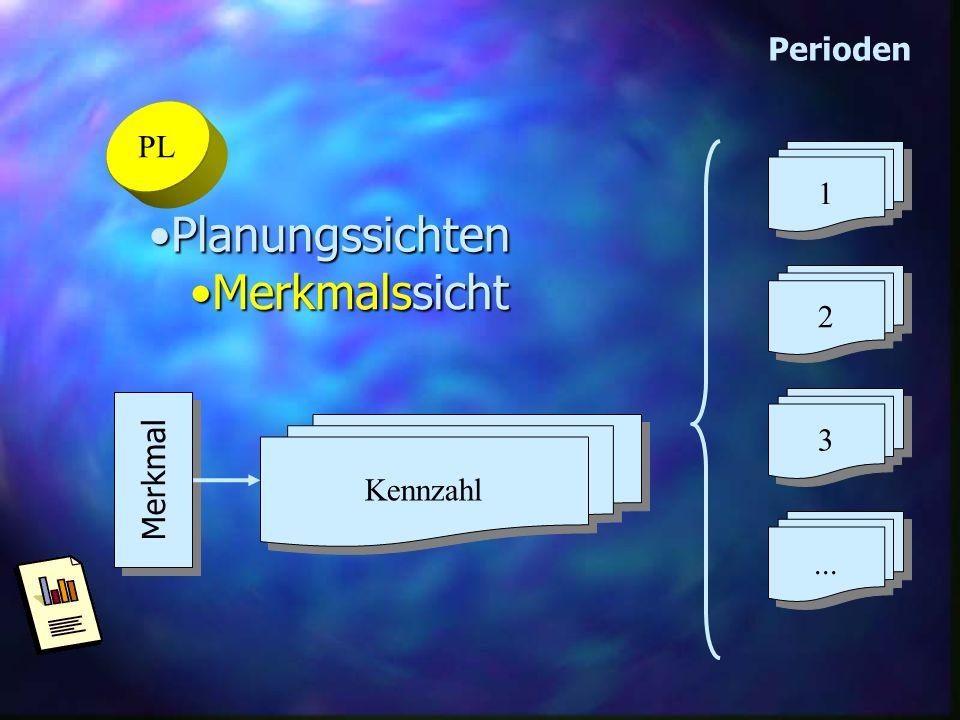 PL PlanungssichtenPlanungssichten MerkmalssichtMerkmalssicht 2 2 1 1 3 3... Perioden Merkmal Kennzahl