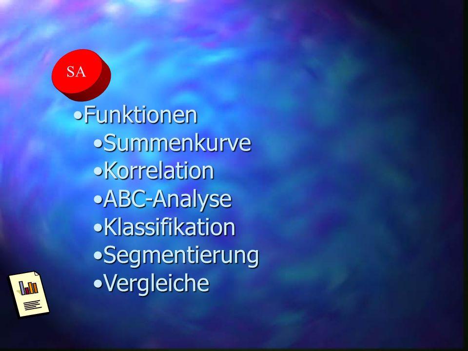 SA FunktionenFunktionen SummenkurveSummenkurve KorrelationKorrelation ABC-AnalyseABC-Analyse KlassifikationKlassifikation SegmentierungSegmentierung V
