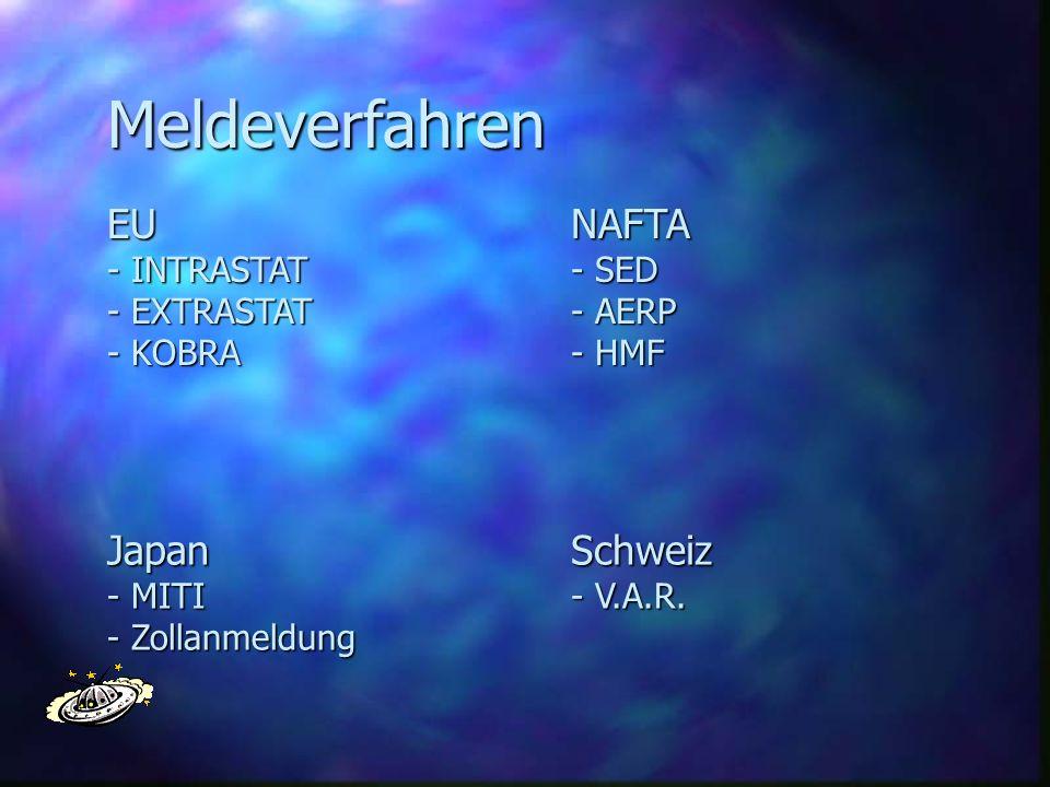 Meldeverfahren EU - INTRASTAT - EXTRASTAT - KOBRA NAFTA - SED - AERP - HMF Japan - MITI - Zollanmeldung Schweiz - V.A.R.