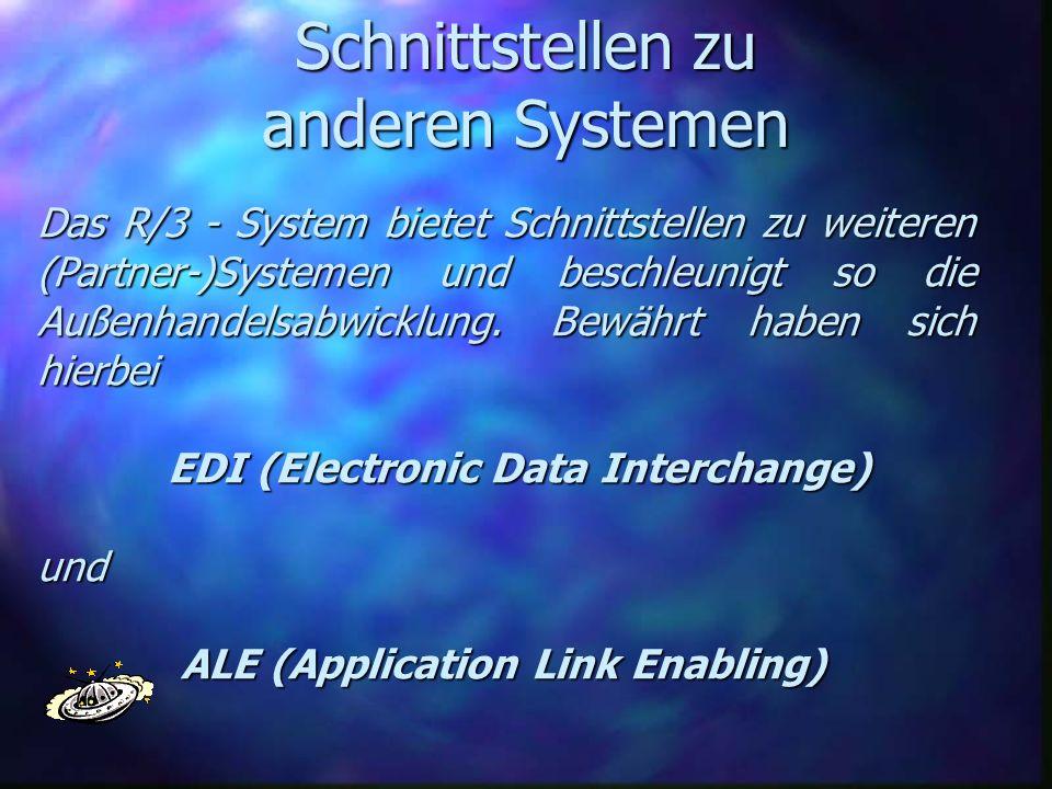 Schnittstellen zu anderen Systemen Das R/3 - System bietet Schnittstellen zu weiteren (Partner-)Systemen und beschleunigt so die Außenhandelsabwicklun