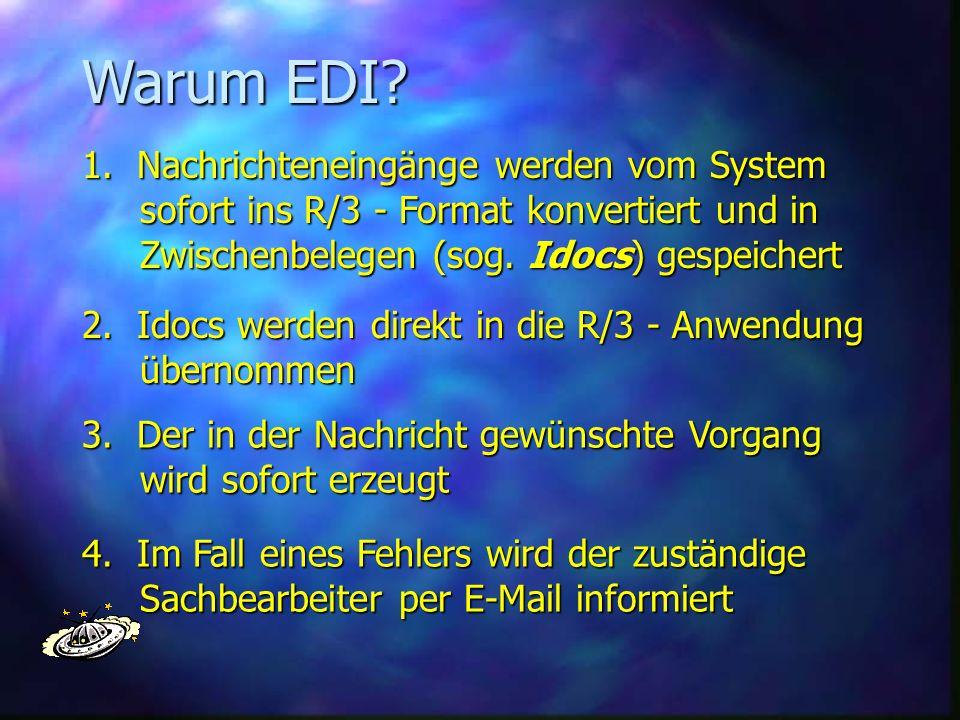 Warum EDI? 1. Nachrichteneingänge werden vom System sofort ins R/3 - Format konvertiert und in sofort ins R/3 - Format konvertiert und in Zwischenbele