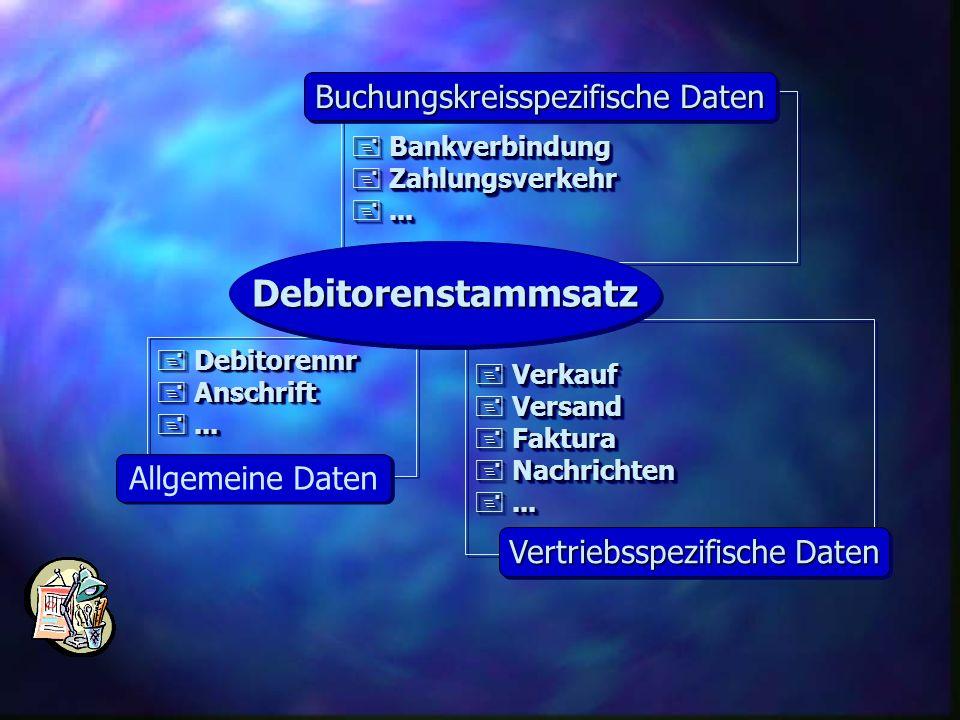 + Bankverbindung + Zahlungsverkehr +... + Bankverbindung + Zahlungsverkehr +... Buchungskreisspezifische Daten + Debitorennr + Anschrift +... + Debito