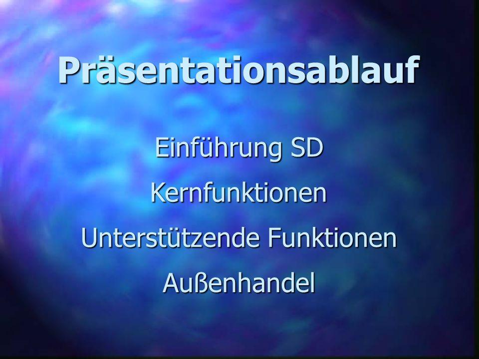 Präsentationsablauf Kernfunktionen Unterstützende Funktionen Außenhandel Einführung SD