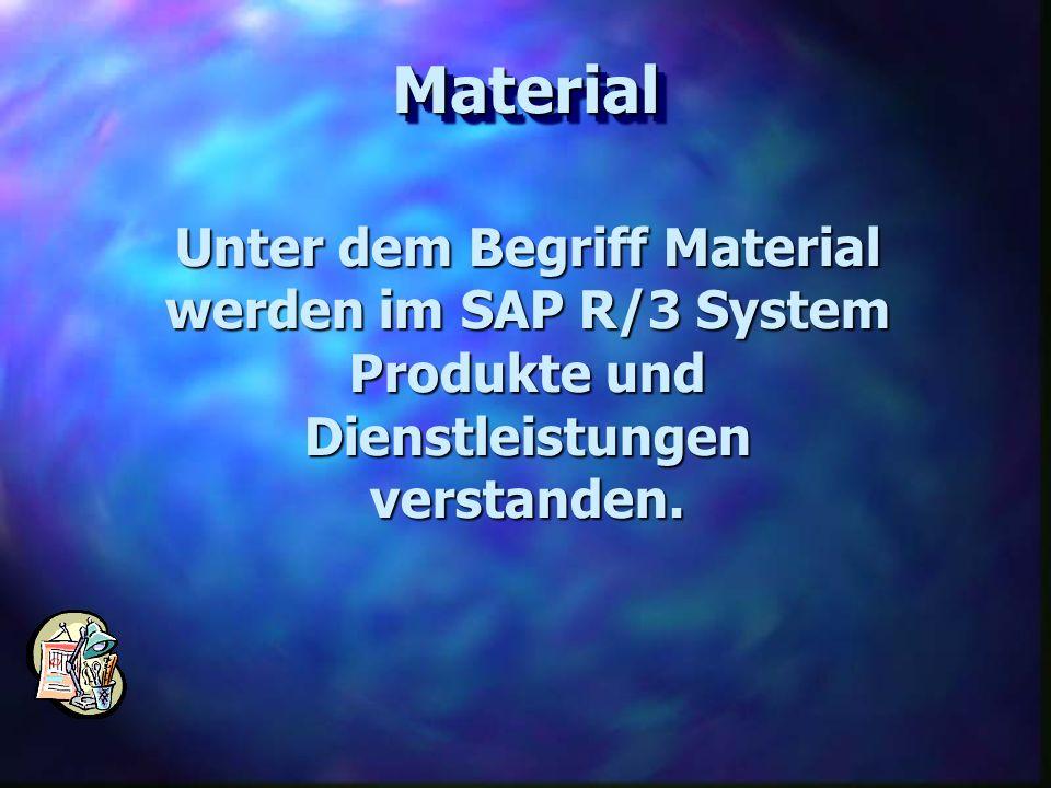 MaterialMaterial Unter dem Begriff Material werden im SAP R/3 System Produkte und Dienstleistungen verstanden.