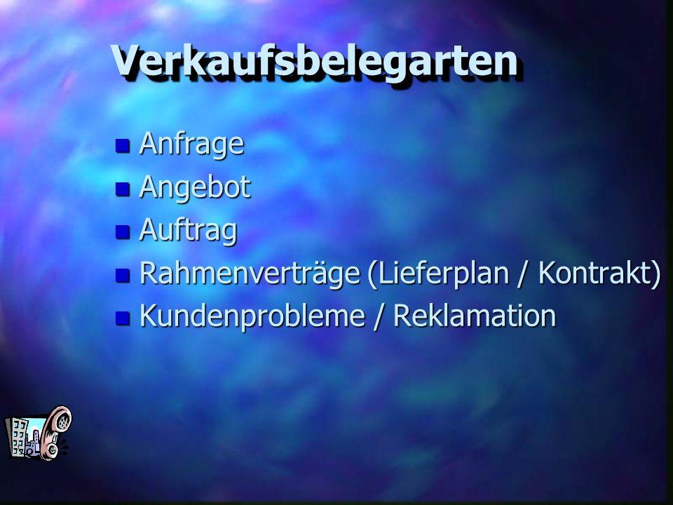 VerkaufsbelegartenVerkaufsbelegarten n Anfrage n Angebot n Auftrag n Rahmenverträge (Lieferplan / Kontrakt) n Kundenprobleme / Reklamation