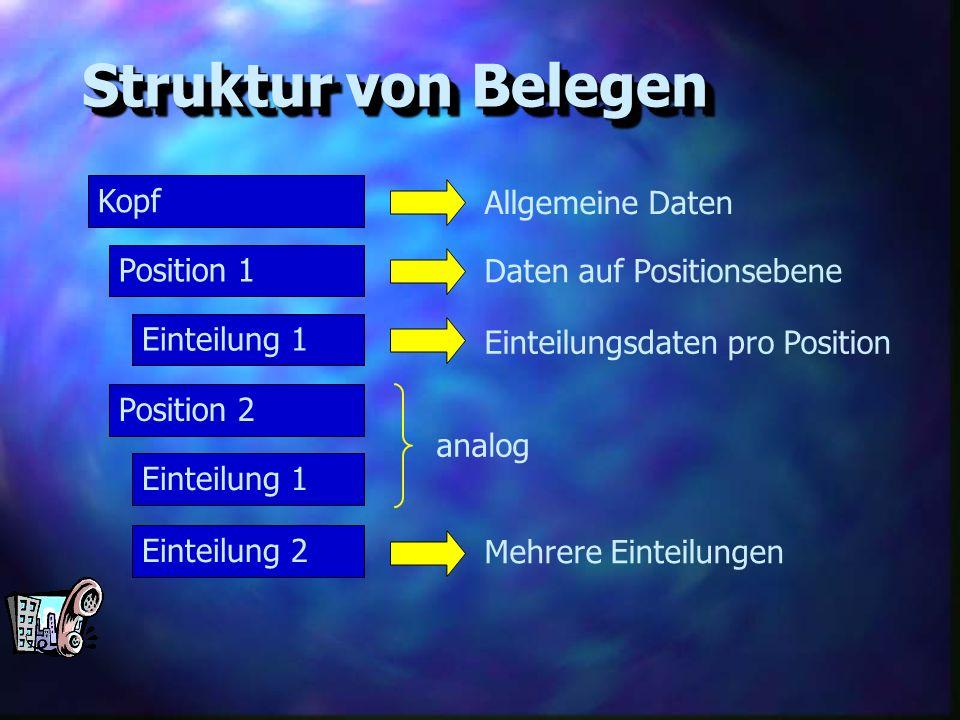 Struktur von Belegen Kopf Position 1 Einteilung 1 Position 2 Einteilung 1 Allgemeine Daten Daten auf Positionsebene Einteilung 2 Einteilungsdaten pro