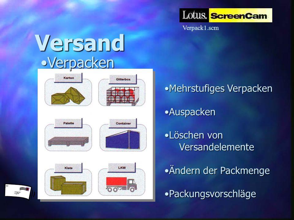 Mehrstufiges VerpackenMehrstufiges Verpacken AuspackenAuspacken Löschen vonLöschen vonVersandelemente Ändern der PackmengeÄndern der Packmenge Packung