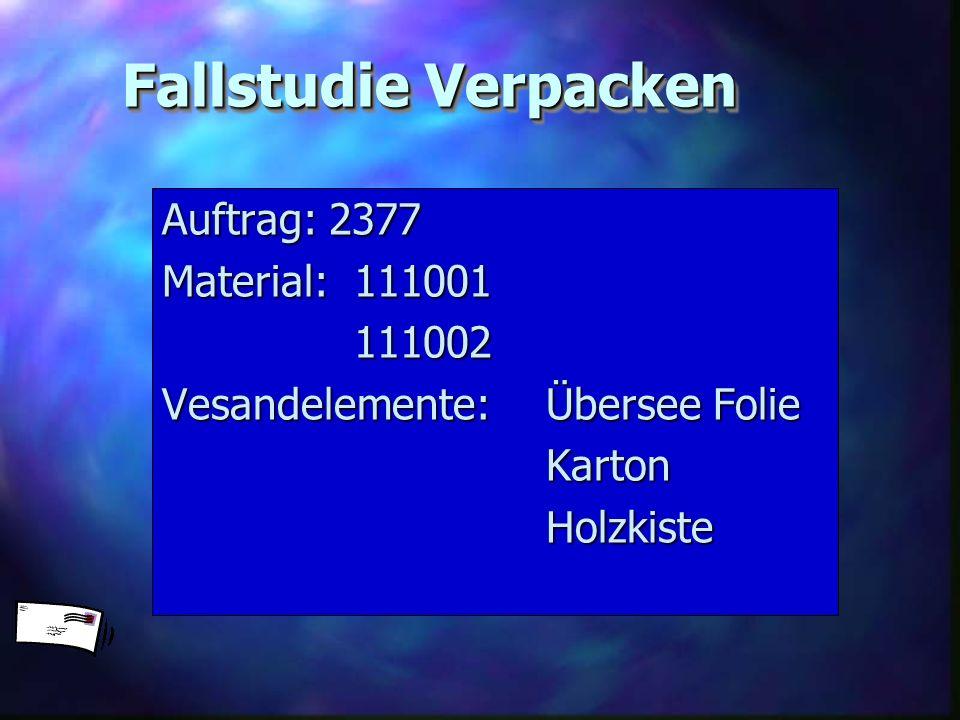 Fallstudie Verpacken Auftrag: 2377 Material: 111001 111002 Vesandelemente: Übersee Folie KartonHolzkiste